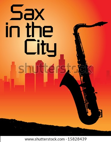 Sax in the city background