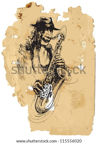 Sax player. A vector image is composed of two editable layers - background with torn paper and sketch of musician.