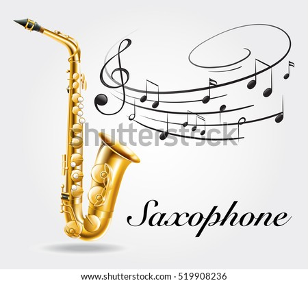 Saxophone and music notes on poster illustration