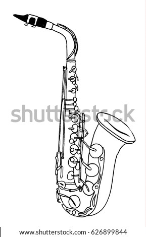 Saxophone hand drawn sketch isolated on white