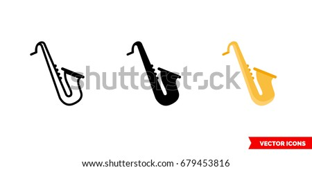 Saxophone icon of 3 types: color, black and white, outline. Isolated vector sign symbol.