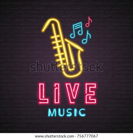 Saxophone Live Music Neon Light Glowing Vector Illustration Design