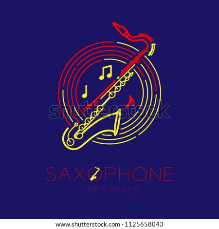 Saxophone, music note with line staff circle shape logo icon outline stroke set dash line design illustration isolated on dark blue background with saxophone text and copy space
