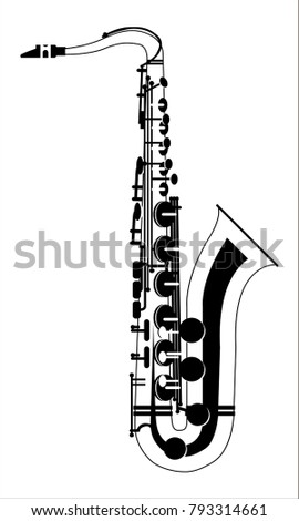 Saxophone musical instrument icon. Vector illustration. Isolated.