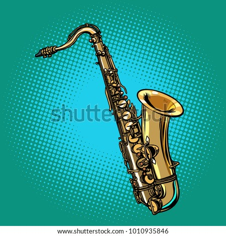 saxophone musical instrument. Pop art retro vector illustration comic cartoon hand drawing