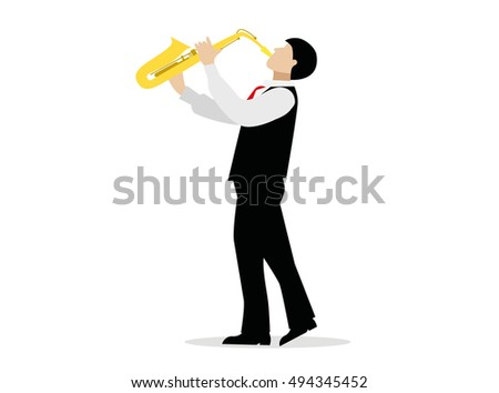 Saxophone player with a saxophone stands on a white background. Vector man in suit playing a musical instrument.