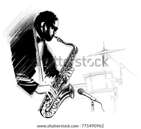saxophone player with microphone and drum - vector illustration