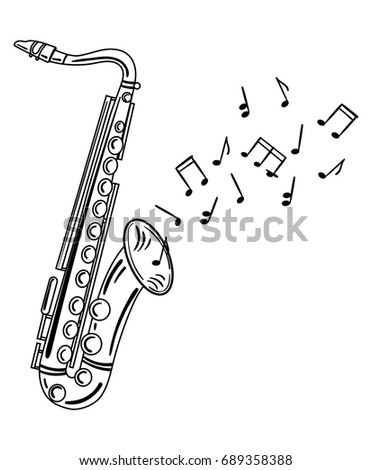Saxophone playing melody. Wind musical instrument with notes. Jazz emblem. Black and white illustration of a wind musical instrument.