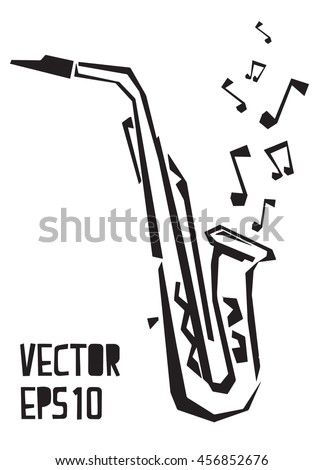saxophone vector illustration sketch. Musical instrument for decoration, design for logo, icon, jazz festival, music shop.