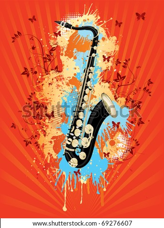 Saxophone With Abstract Swirl on Retro Background.Vector.