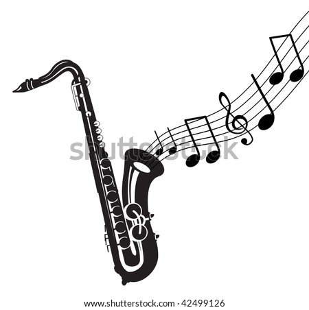 saxophone with music notes - stock vector