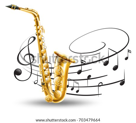 Saxophone with music notes in background illustration