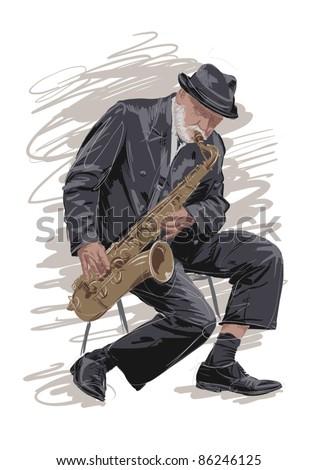 Saxophonist - stock vector