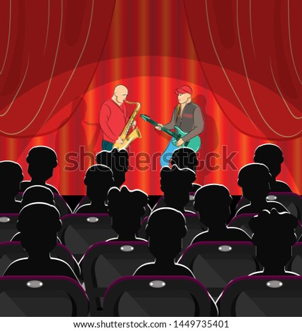 Saxophonist and guitarist play music on stage. In the hall are the spectators who came to the concert. Vector illustration