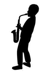 Saxophonist silhouette on a white background. A young man plays an instrument. Teen boy learns music playing the saxophone. Isolated vector drawing. Jazz player pattern