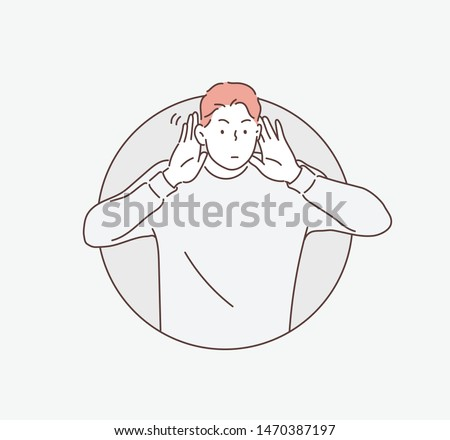 Say more loudly. Attractive happy man smiling and having his hand hear his ear and showing that he cant hear. Hand drawn style vector design illustrations. ストックフォト ©
