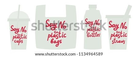 Say no to plastic cups bags bottles straws. Red text, calligraphy, lettering, doodle by hand isolated on white. Eco, ecology. Vector