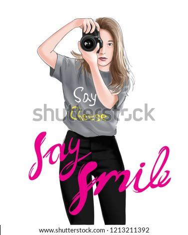 say smile slogan with girl