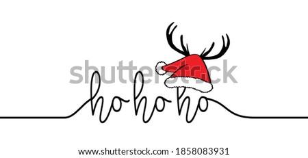 Saying ho ho ho, Merry Christmas hat. Hohoho pattern, Santa Claus, Christmas hats, xmas design. New Year concept. Slogan or quote. December, happy party.
