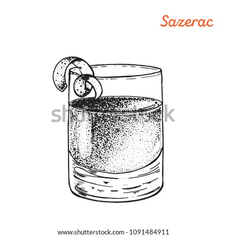 Sazerac cocktail illustration. Alcoholic cocktail hand drawn vector illustration. Sketch style.