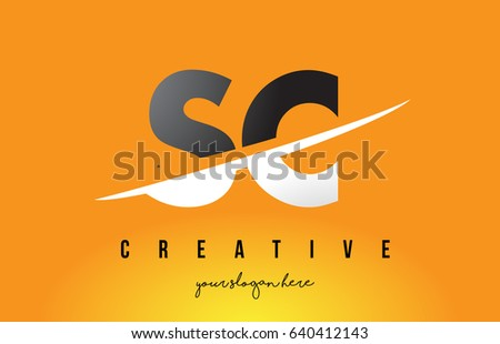 Sc s c letter modern logo design with swoosh cutting the middle letters and yellow background