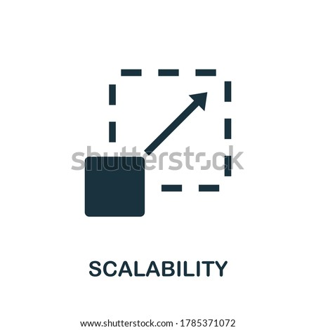 Scalability icon. Creative element sign from community management collection. Monochrome Scalability icon for templates, infographics and more. Foto d'archivio ©