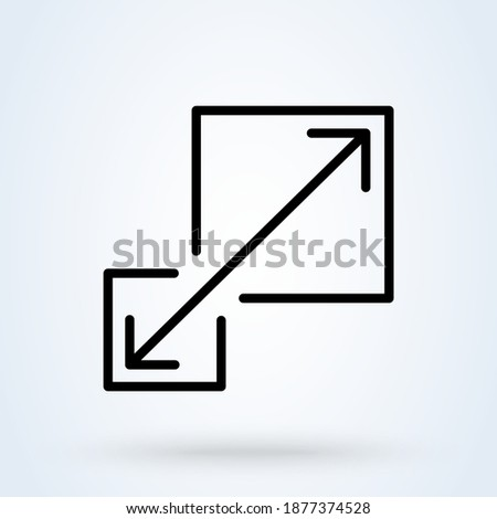 Scalability or scalable system line sign icon or logo. Scalability concept. Scalable or resize window app illustration. Foto d'archivio ©