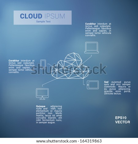 Scalable minimal flat vector of cloud computing for web pages, brochures, presentations - blue sky edition #164319863
