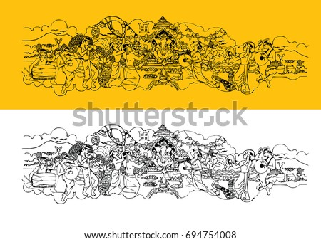 Scalable vector artwork showing Ganesh festival or Ganesh Chaturthi, hindu festival widely celebrated across India especially in maharashtra