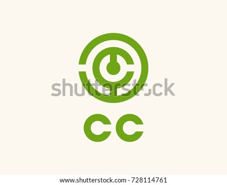 Scalable vector icon, showing from one to four letters C and text CC. Isolated logo, which is well suited for IT company, engaged in communication, escape room or any other scientific activity