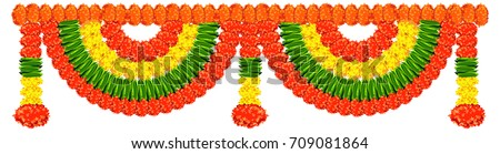 scalable vector illustration of bunting ( known as toran in hindi) made using colourful marigold or genda or zendu flower arrangement for Hindu or indian festival decoration