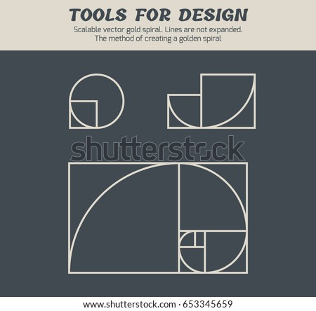 Scalable vector illustration of spiral with golden ratio - tool, that can be useful to any designer. Lines are not expanded. Graphic tutorial, which shows the method of creating a gold spiral.