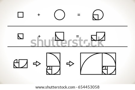 Scalable vector illustration of spiral with golden ratio - tool, that can be useful to any designer. Lines are not expanded. Graphic tutorial, which shows the method of creating a gold spiral