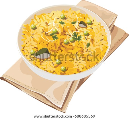 Scalable Vector illustration or artwork of Indian Breakfast Dish Poha Also Know as Pohe or Aalu poha made up of Beaten Rice or Flattened Rice