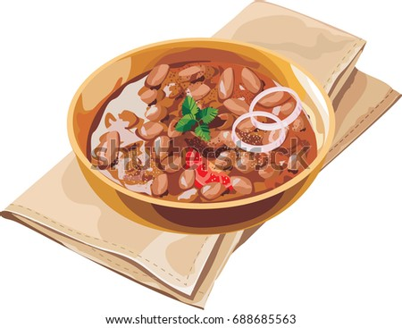 Scalable Vector illustration or artwork of kidney bean curry or rajma or rajmah chawal, typical north indian main course
