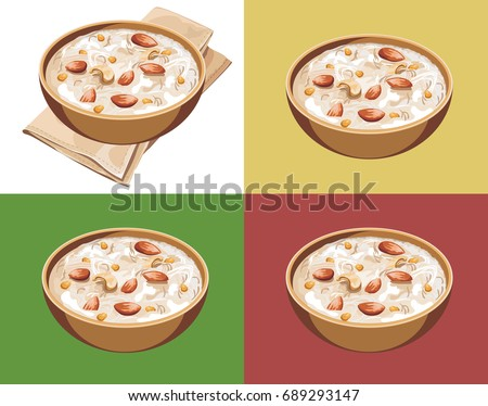 Scalable Vector illustration or artwork of Most famous Indian sweet pudding Kheer or semiya khir in a bowl