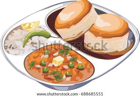 Scalable Vector illustration or artwork of Pav bhaji or pavbhaji - popular Indian street food