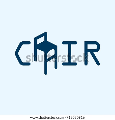 Scalable vector illustration, that consists of text Chairs, your slogan here, and generalizing icon that can designate chair, armchair or sofa. Isolated logo, which you can use to screen and print