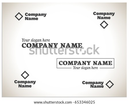 Scalable vector illustration with variations of the composition - the mutual arrangement of the graphic mark and the name of the company, as well as the name of the company and the slogan