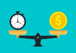 Scale balance of time is money. Value money comparison and time in flat style. Money and time balance on measure scale. Compare weight of clock and money for success business concept. vector eps10