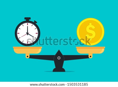 Scale balance of time is money. Value money comparison and time in flat style. Money and time balance on measure scale. Compare weight of clock and money for success business concept. vector eps10 ストックフォト ©