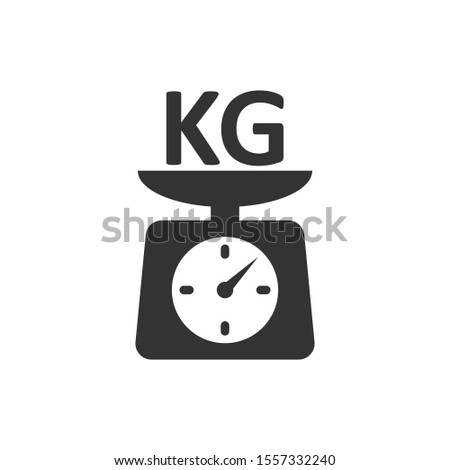 Scale icon in flat style. Kilogram dumbbell vector illustration on white isolated background. Gym business concept.
