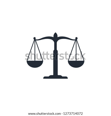 Scale icon, law firm logo template. simple flat vector.
