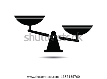 Scale  icon of weight or justice scales vector illustration on background