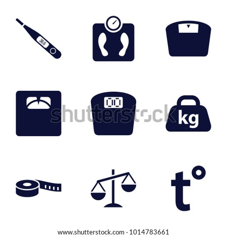 Scale icons. set of 9 editable filled scale icons such as floor scales, weight, thermometer, temperature, measuring tape, floor scale