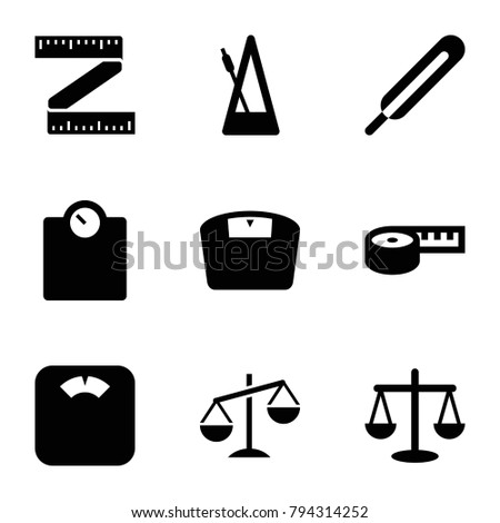 Scale icons. set of 9 editable filled scale icons such as scales, measuring tape, floor scales, floor scale, themometer, metronome
