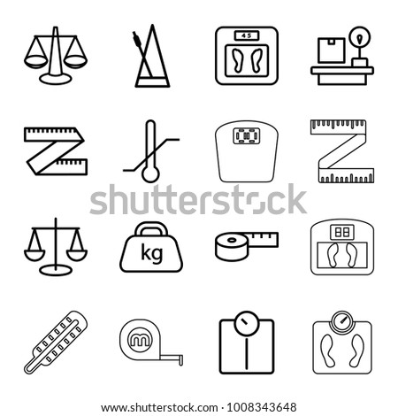 Scale icons. set of 16 editable outline scale icons such as floor scales, scales, measuring tape, measure ruler, floor scale, thermometer, lugagge weight, weight, metronome