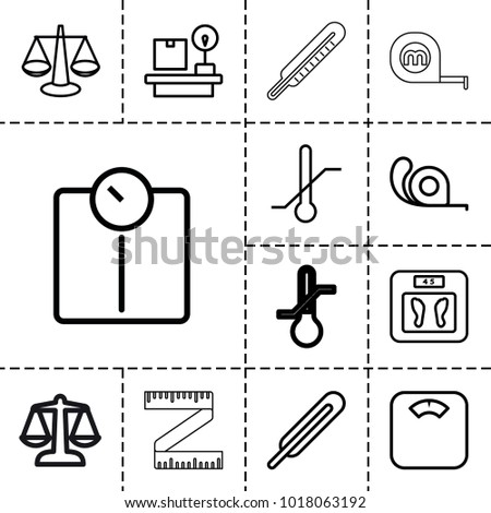 Scale icons. set of 13 editable outline scale icons such as floor scales, tape, scales, floor scale, themometer, thermometer, lugagge weight