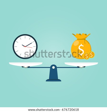 scale time bag gold coin flat vector