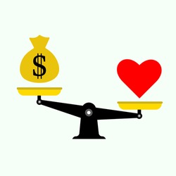 Scale tipping balance between heart (love) and money bag flat vector design / Love is more valuable than money concept vector